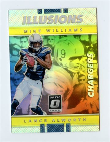 MIKE WILLIAMS RC 2017 OPTIC ILLUSION LANCE ALWORTH #8 CHARGERS ROOKIE HOT INVEST