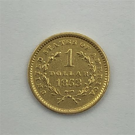 1853 $1 Gold Coin US 1 Dollar Type 1 Gold Coin