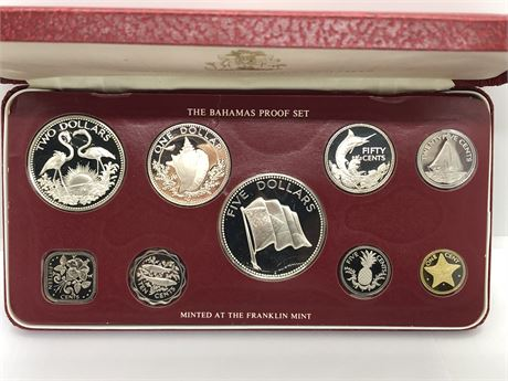 Silver Franklin Mint 1976 Bahamas Proof Set Four Silver Coins