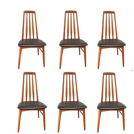 Niels Koefoeds Hornslet Mid Century 'Eva' Teak Dining Chairs Set of Six (6)