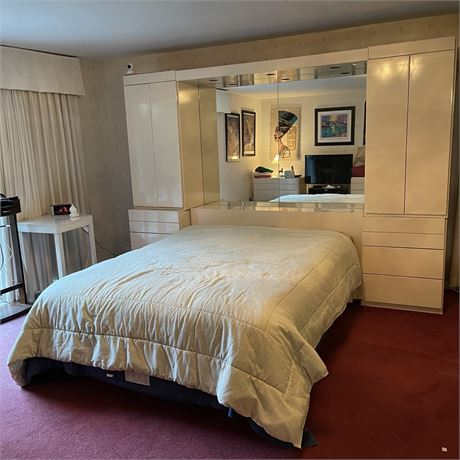 Queen Sized Platform Bed With Display Shelving Headboard and Mirror