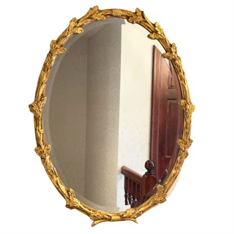 Acorn Leaf and Bow Gold Gilded Oval Mirror