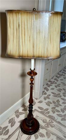 Vintage Carved Wood Floor Lamp