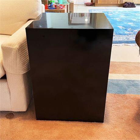 Vintage Gloss Black Box Side Table