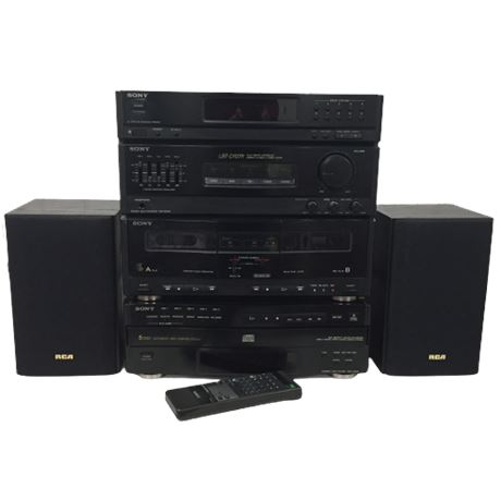 Sony Audio System (Compact) w/ Receiver, Equalizer, Dual Cassette & 5 CD Changer