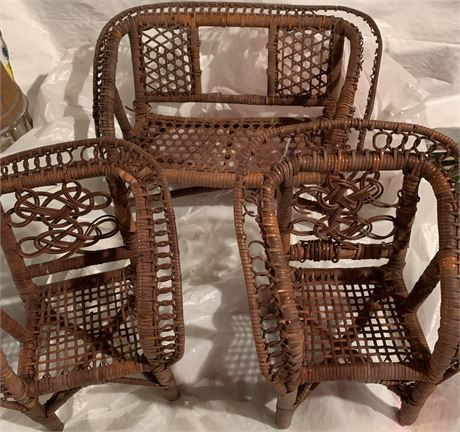 Wicker doll furniture 3 pieces