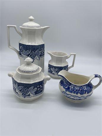 Staffordshire English Blue and White Ironstone Tea Set