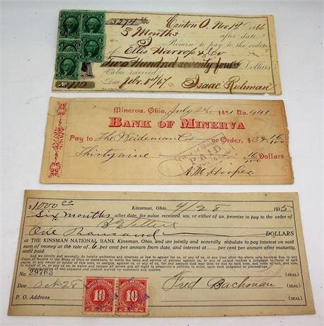 Antique 1866 Bank Check Stamps