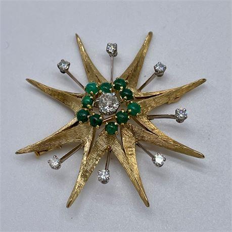 Vintage 18K and Emerald Star Burst Brooch