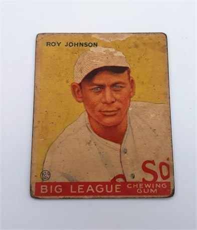 1933 Goudey Roy Johnson Boston Red Sox #8 Baseball Card