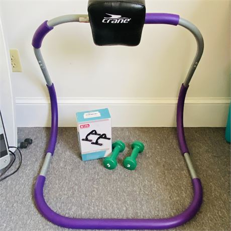 Home Workout LOT with Ab Roller, 3lb Weights and N1 Fit Push Up Bars