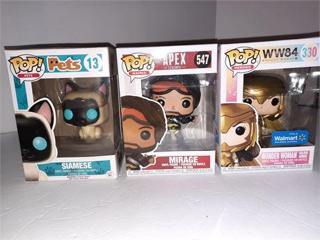 3 Funko Pop Figures