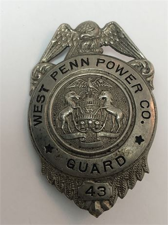 Antique / Vintage Wet Penn Power Co Guard Badge Metal Screwback Pin Badge