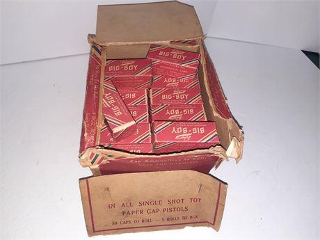 Vintage Store Display Box Of NOS ROLL CAPS KILGORE BIG BOY