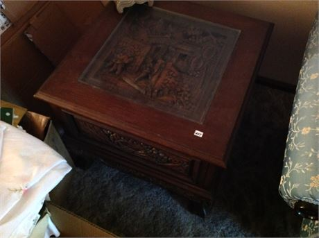 Vintage Asian Hand Carved End Table