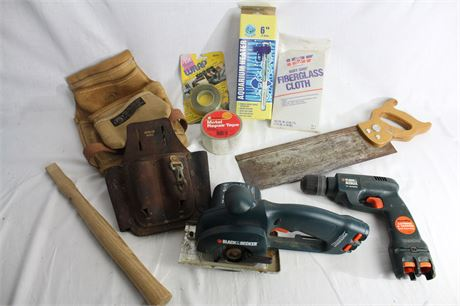 Tool Belt Pouches, Hand Saw, Black & Decker Drill and Saw & More