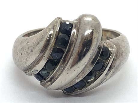 Sterling Silver Onyx Ring Size 6 1/2