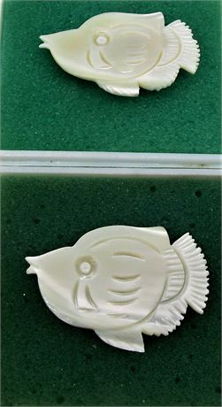 2 carved Mother Pearl fish pins