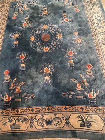 Chinese Carved Blue Wool Rug