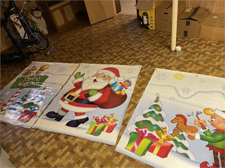 3 Large Heavy Duty Plastic Christmas Banners