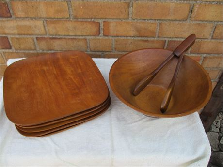 Wooden Salad Bowl and Plates
