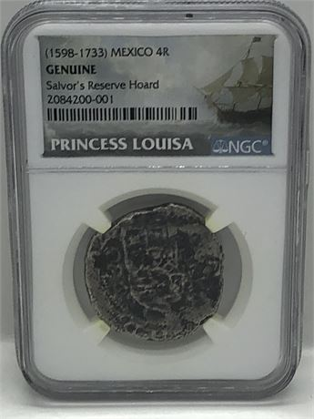 Princess Louisa Shipwreck Spanish 4R Silver Coin NGC Certified 4 Reales