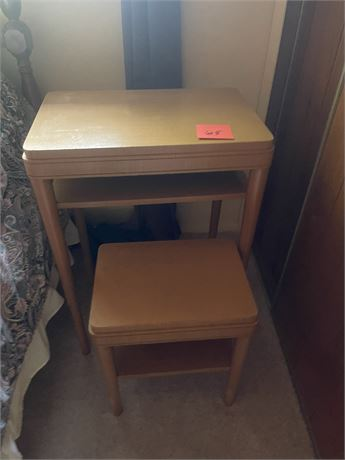 quaint wooden desk with stylistic matching chair