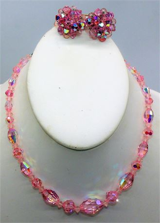 Pink A/B crystal necklace earrings