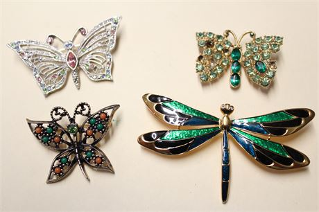 Butterfly Brooches and Enamel Dragonfly Brooch