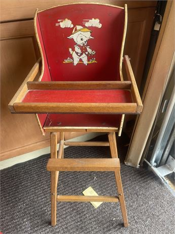 """Vintage Wooden Toy Doll High Chair 31"""" tall"""