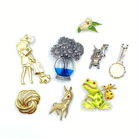 Vintage Brooch Lot with Pewter Pieces, Designer and Enamel