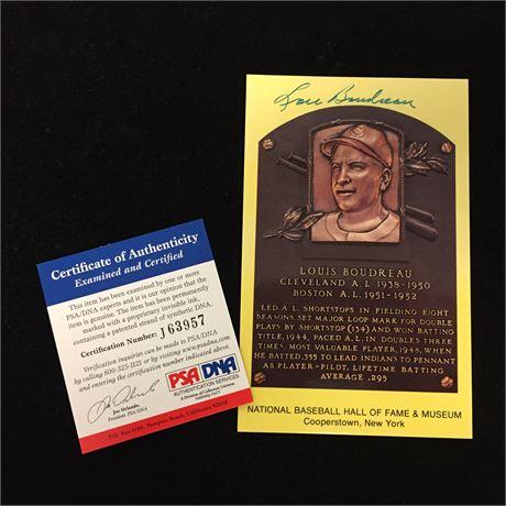 Lou Boudreau Autographed HOF Postcard