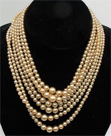 Sterling 7 Strand pearl necklace