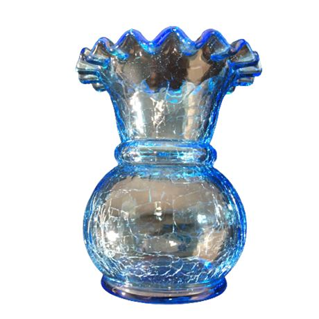 Mid-Century Blue Crackle Glass Vase