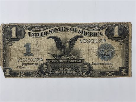 """1899 US One Dollar Silver Certificate """"Black Eagle"""" Large Bank Note Blue Seal"""