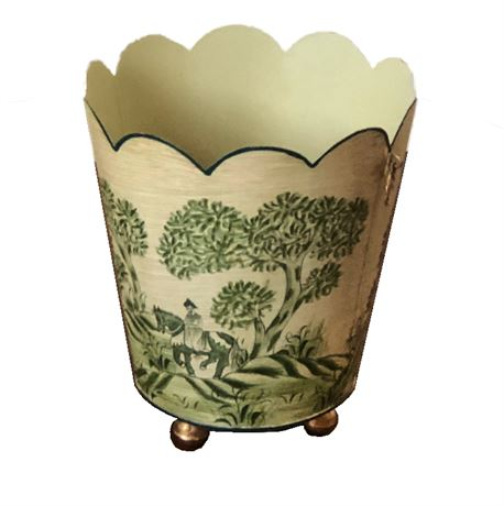 Vintage Toile Decorative Waste Can