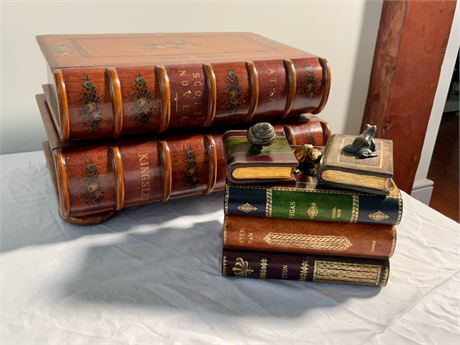 Maitland Smith Faux Book Trinket Box and Book Table Set with Bronze Figures