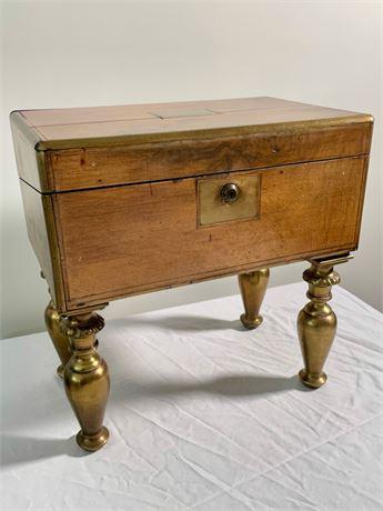 Antique Lap Desk with Brass Legs