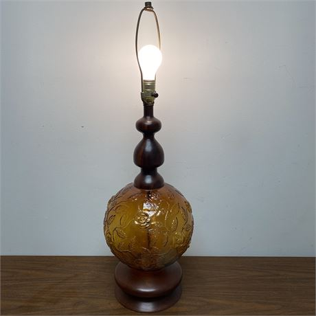 Vintage amber glass table lamp with wood accents