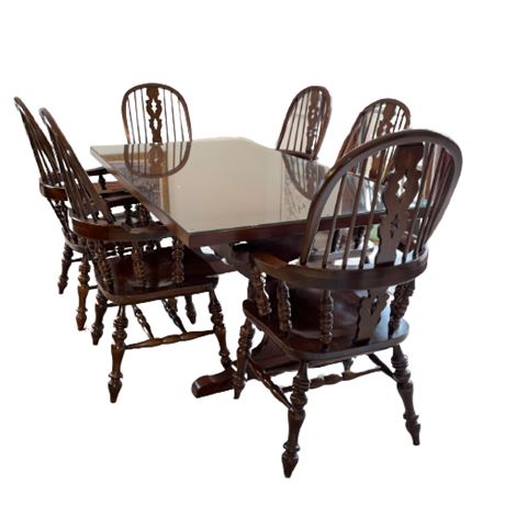 Harden Trestle Table and Windsor Chair Dining Set