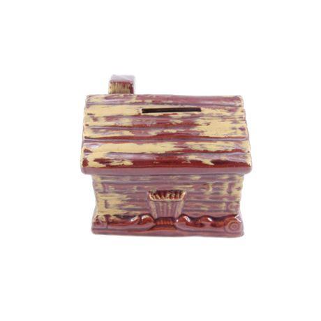Vintage Redware Pottery Log Cabin Coin Bank