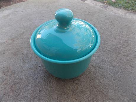 Vintage Nancy Calhoun Dark Aqua stoneware - sugar bowl with lid