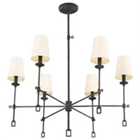 """New with tags Savoy House 1-9001-6-88 Lorainne 6 Light 32"""" Black Chandelier"""