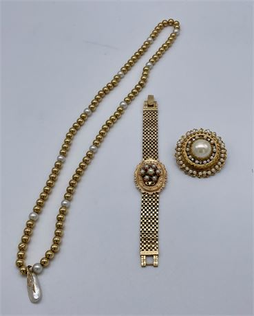 Vintage 14K Yellow Gold Locket Bracelet and 14K Bead Necklace with Pearl Drop