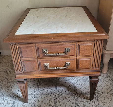 Vintage Marble Top Occasional Side End Table