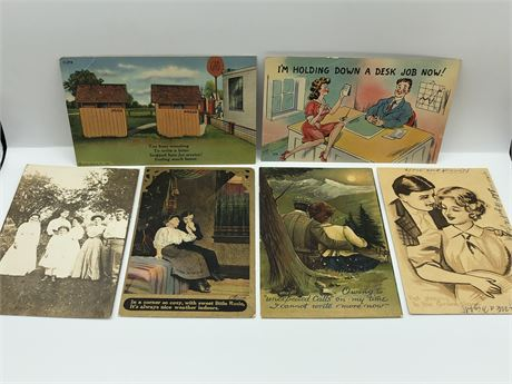 1908 1909 Romantic Postcard and 1 Cent Stamp Lot