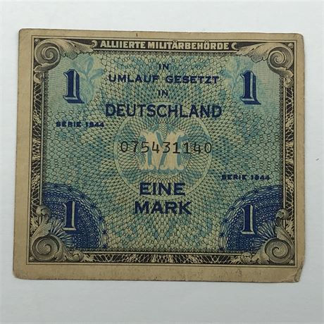 WW2 Allied Military Currency 1944 Germany 1 Mark German Occupation Currency