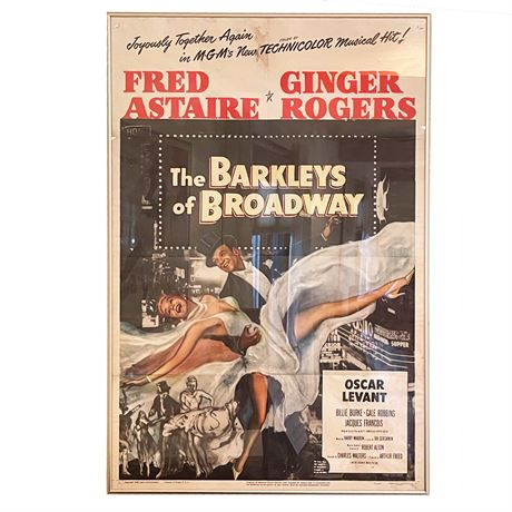 Original 1944 Fred Astaire Ginger Rogers The Barkleys of Broadway Framed Poster