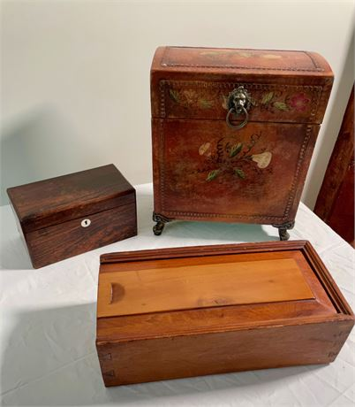 Antique Candle Box and Vintage Leather Decanter Box
