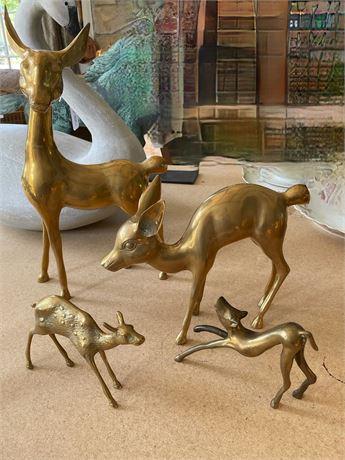Group of Brass Figural Deer